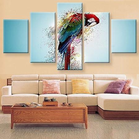 5 Pièces Toile Mur Art Couleur Perroquet Paysage Peinture