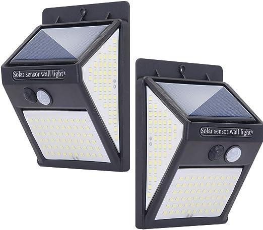 Luz Solar Exterior 140 Led Lámparas Solares Con Sensor De Movimiento Luces Solares Led Exterior Impermeable Con 3 Modos Inteligentes Para El Garaje Del Jardín Camino Negro Amazon Es Iluminación