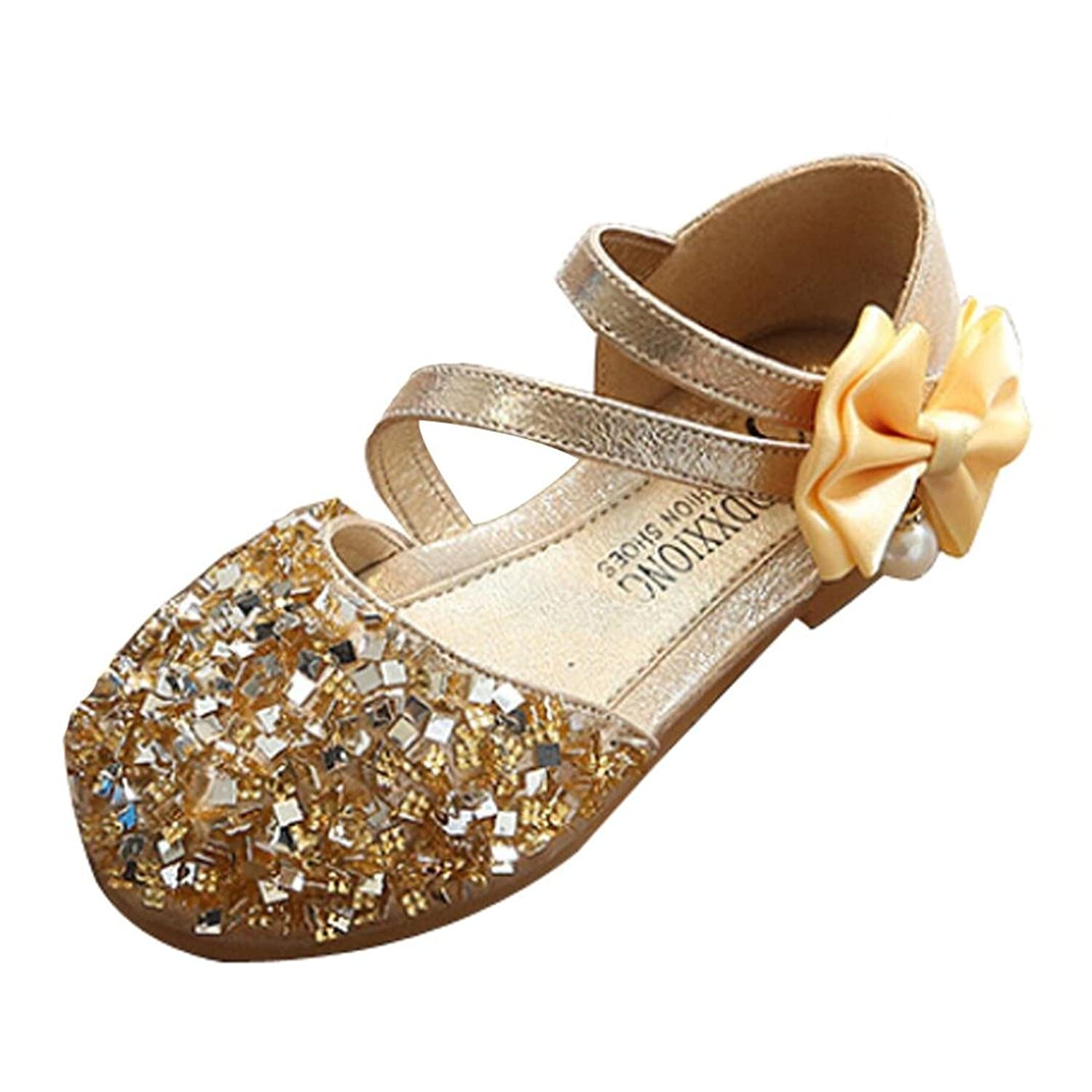 ASTV Girls Round-Toe Bowknot Sequins Sparkle Anti-Slip Fashion Princess Dance Leather Casual Single Shoes