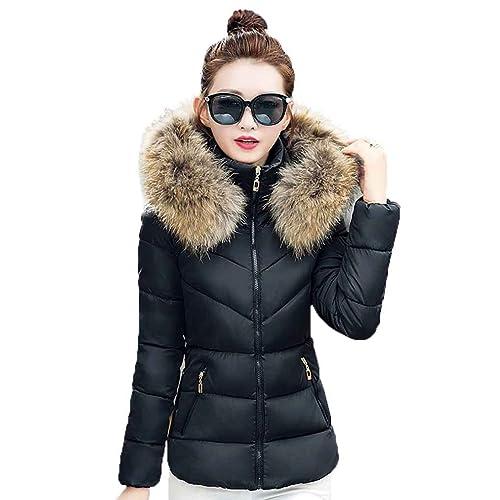 KOROWA Chaquetas de invierno de las mujeres con capucha de cuello corto de piel acolchada abrigo abr...