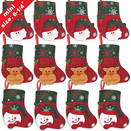 ivenf 12 pack 6 14 3d mini christmas stockings santa snowman - Mini Christmas Decorations