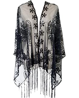 ae800d9a492 L vow Women s Glittering 1920s Scarf Mesh Sequin Wedding Cape Fringed  Evening Shawl Wrap