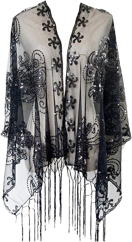 Black Heart Sequins Scarf Shawl Wrap Birthday Present Christmas Gift Ladies New