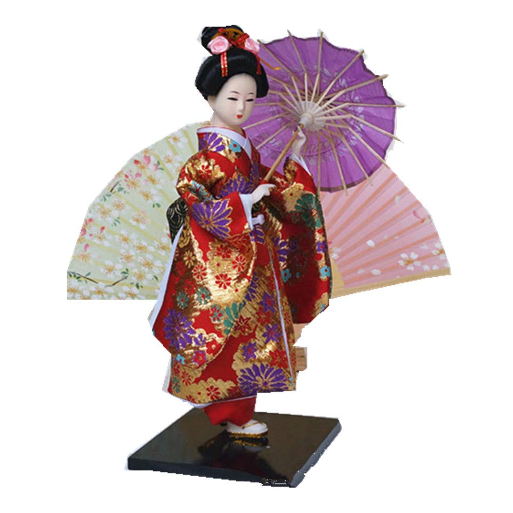JG.BETTY 12 30cm Geisha Japanese Doll Folk Kimono Doll Maiko Doll Puppet Stand on Base for Decorative Home and Hotel Gifts Doll JinGuo Multi-JD0012-82