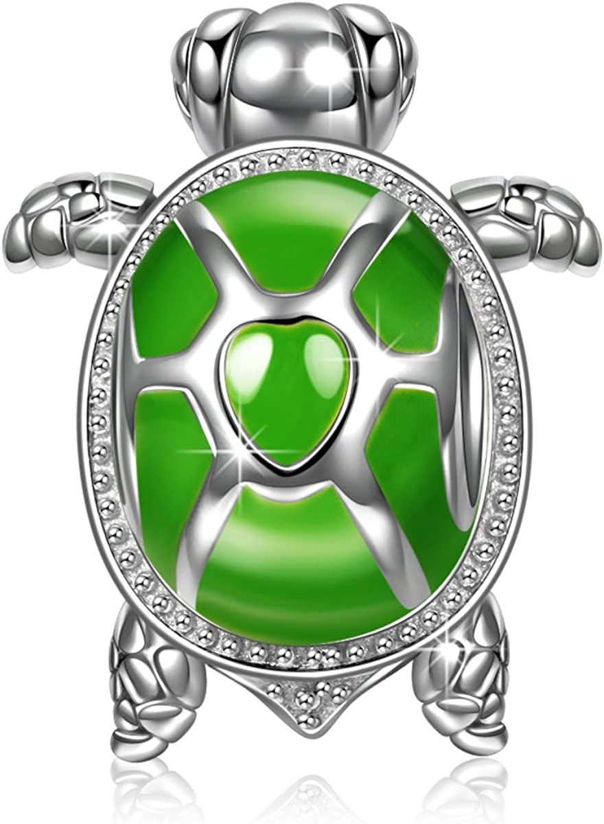 NINAQUEEN Tortoise Bracelet Charms 925 Sterling Silver Green Enamel Charm Bead Love Animal Theme Charms for Pandöra Bracelets Necklace Gifts for Mom Daughter Girls