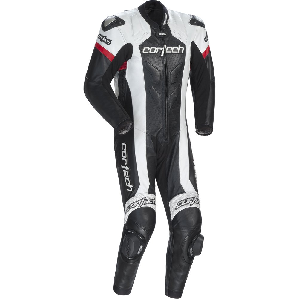 Cortech Adrenaline Men's 1-Piece Leather Sports Bike Racing Motorcycle Race Suit - Black/White / Medium