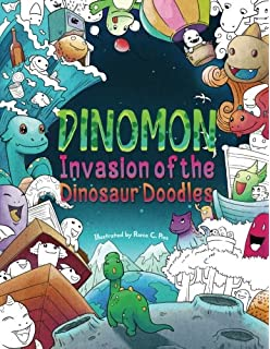 Dinomon Invasion Of The Dinosaur Doodles Adult Coloring Book Color And Relax In