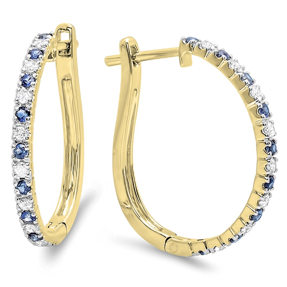 Dazzlingrock Collection 10K Round Blue Sapphire & White Diamond Ladies Hoop Earrings, Yellow Gold