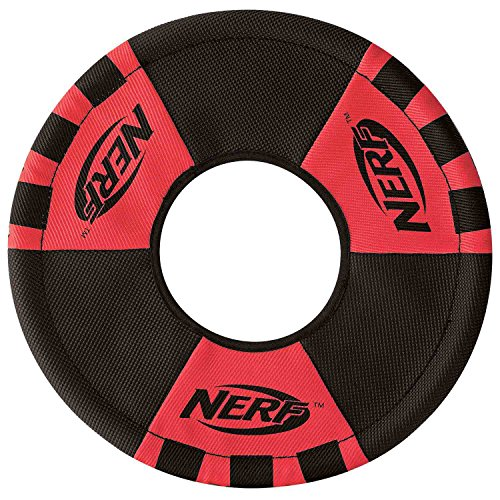 Nerf Dog Trackshot Toss and Tug Flying Ring Dog Toy, Medium, Red