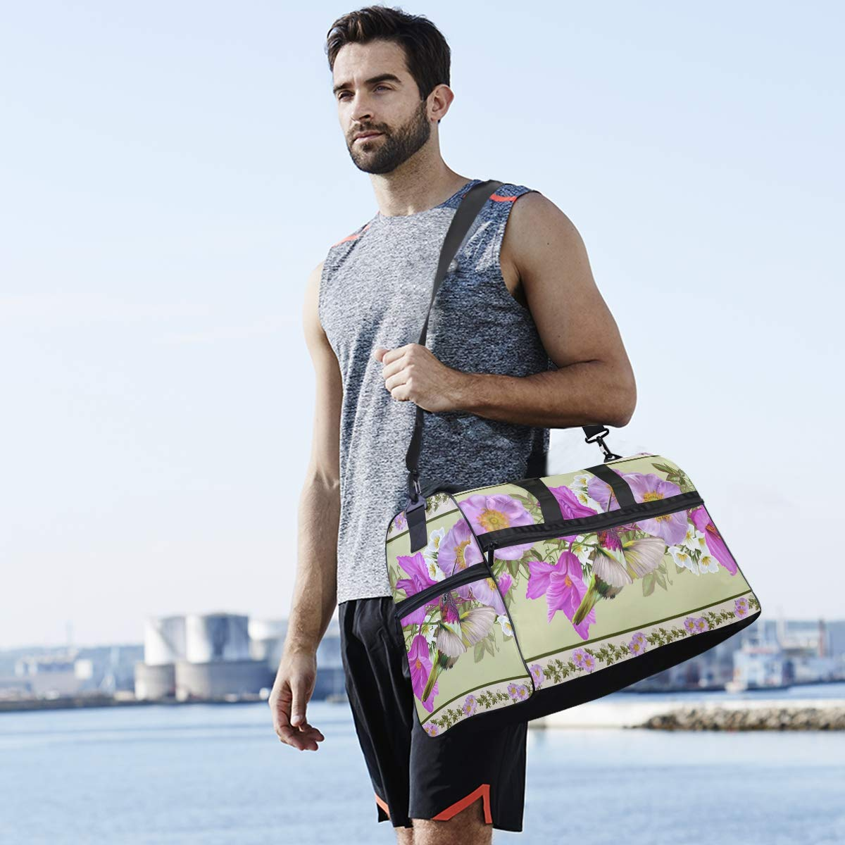 Vacation Gym Travel Duffel Bag Tropical Floral Waterproof Lightweight Luggage bag for Sports