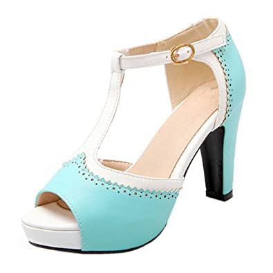 FANIMILA Women Fashion Peep Toe Block Heel Sandals T-bar Shoes (43 ...