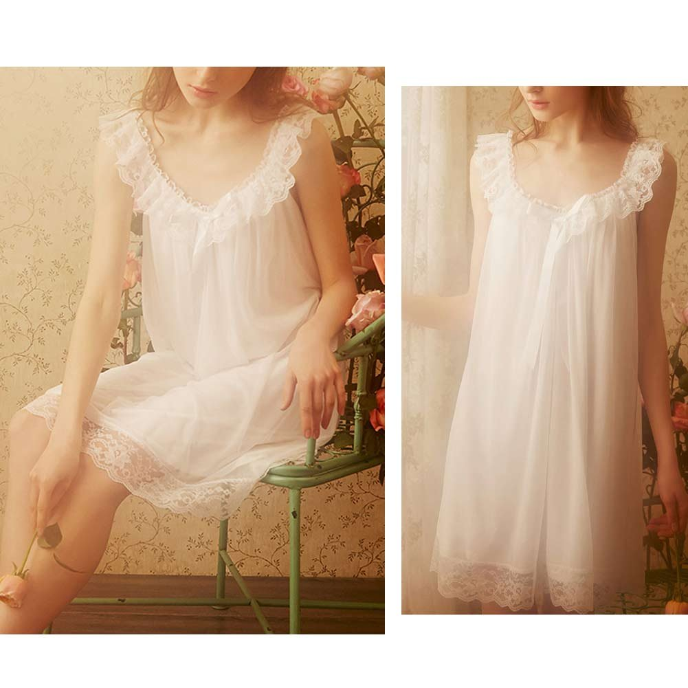 89438d9b2c91 Women s Sleepwear Lace Nightdress Victorian Vintage Nightgown Loungewear  Pajamas at Amazon Women s Clothing store
