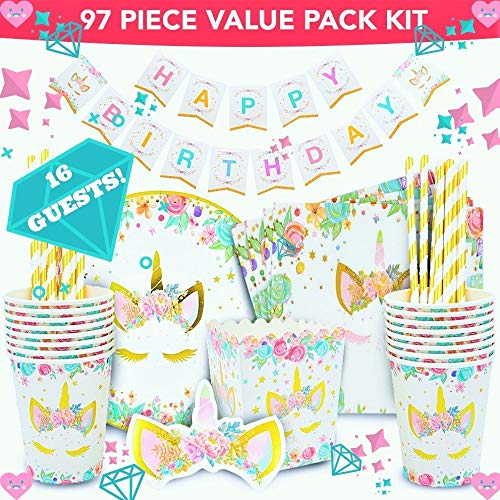 Tableware Theme (UNICORN PARTY SUPPLIES - Pink & Gold Unicorn decorations theme design set - kid's & baby shower disposable tableware 16 x plates, cups, paper straw, napkins, popcorn box - INCLUDING rainbow