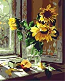 [ New Release ] Diy Oil Painting by Numbers, Paint by Number Kits - Window Sunflower 16*20 inch Digital Oil Painting Canvas Wall Art Artwork for Home Living Room Office Christmas Decor Decoration Gift