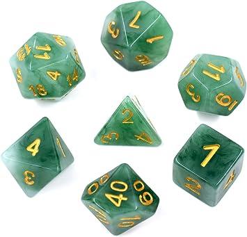 HDdais - Juego de dados de jade para Dungeons y Dragons Pathfinder DND RPG MTG, Verde: Amazon.es: Juguetes y juegos