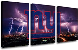 Cityscape Paintings National Football League Picture New York Giants Wall Art Print on Canvas Vintage House Decor Giclee Purple Artwork for Bedroom Gallery-Wrapped Framed Ready to Hang(42''W x 20''H)