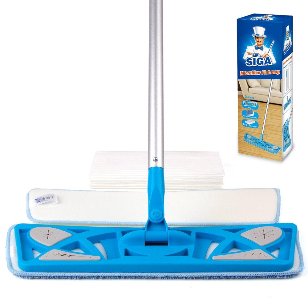 MR. SIGA Microfiber Flat Mop (Included 2 Microfiber Refills and 6 Dry Cloths) - Pad Size 43 x 21cm Ltd. SJ21541