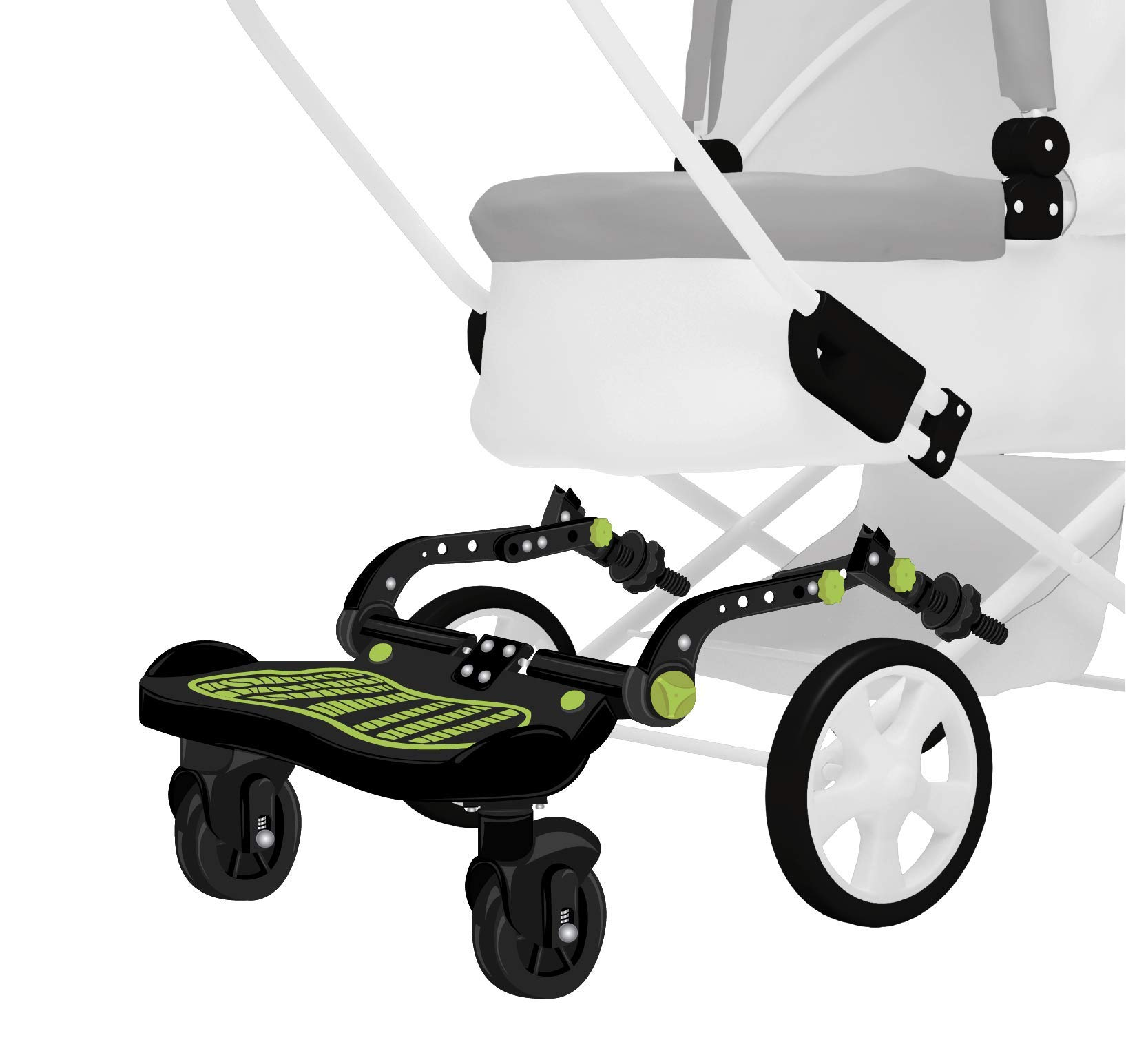 Universal Stroller Glider Board for Kids | Latch System for Easy Setup | Supports up to 70 lbs. | Reinforced Stand Board with Non-Slip Adhesive, Higher and Wider Feet Clearance by W WHYSGIVING