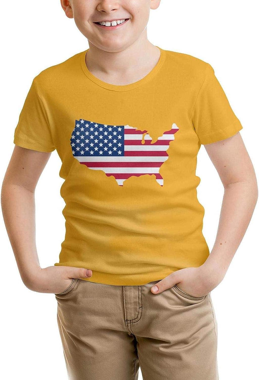 JIUNZ Boys T-Shirt America Breathable Cotton Short Sleeve Tee