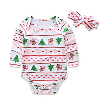 a8bb72c3714d Amazon.com  Gotd Infant Baby Girls Boys Clothes Christmas Autumn ...