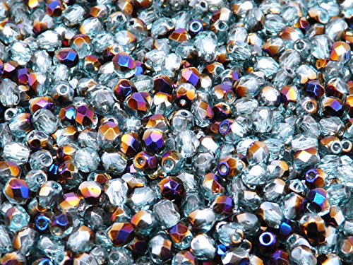 100 Pcs Czech Fire-Polished Faceted Glass Beads Round 4mm Grey-Blue ()