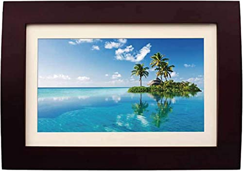 Sylvania SDPF1089 10-Inch LED Multimedia Wood Finished Digital Photo Frame with Remote Control and 2 GB Built in Memory Brown Renewed