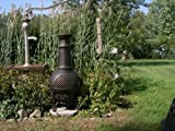 The Blue Rooster Co. Gatsby Style Cast Aluminum Wood Burning Chiminea in Gold Accent.