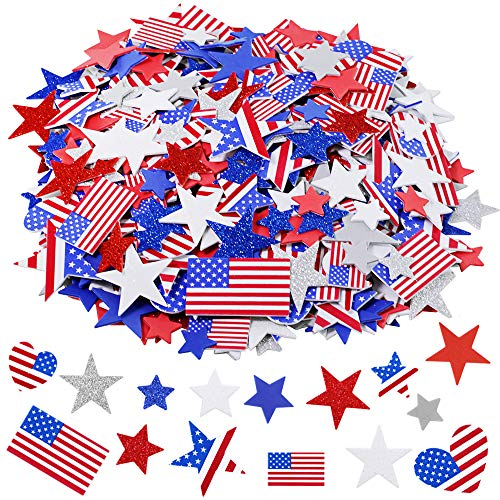 502 pcs 4 Sizes Assorted Patriotic Stickers Patriotic Star Stickers USA Flag Heart Star Foam Stickers in Red Blue Silver White Grey Self Adhesive 1