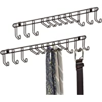 mDesign Set of 2 Tie Hanger - Tie Organiser & Belt Hanger for Ties, Belts, Scarves & Hand Bags - Hanging Wardrobe Storage Solutions - Bronze