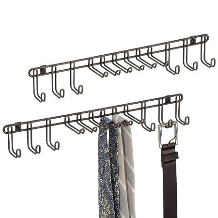 Plateado pa/ñuelos mDesign Perchero de Pared Pr/áctico corbatero para Pared de Metal con 8 Ganchos Bolsos y Accesorios Ganchos para Colgar Cinturones