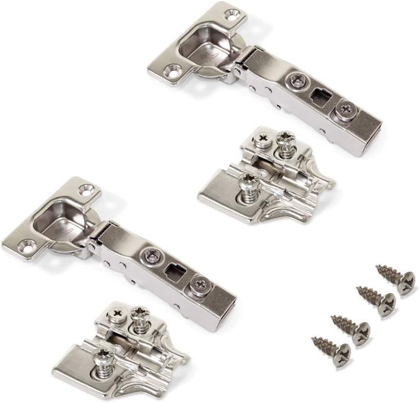 Emuca 1012507 Pack de 20 bisagras de cazoleta /Ø35mm 100/° para puerta semi-solapada y suplementos Euro con regulaci/ón exc/éntrica