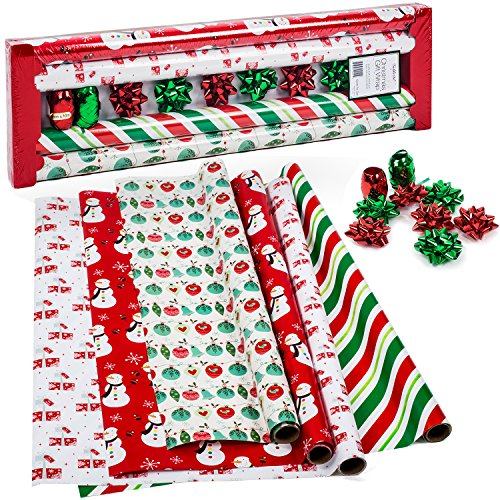 Christmas Wrapping Paper - Holiday Gift Wrap - Premium Gift Wrap, 4 Rolls - 2.5 ft x 10 ft per Roll, Includes 7 Bows, 2 Rolls of Ribbon (Wrapping Christmas Paper)