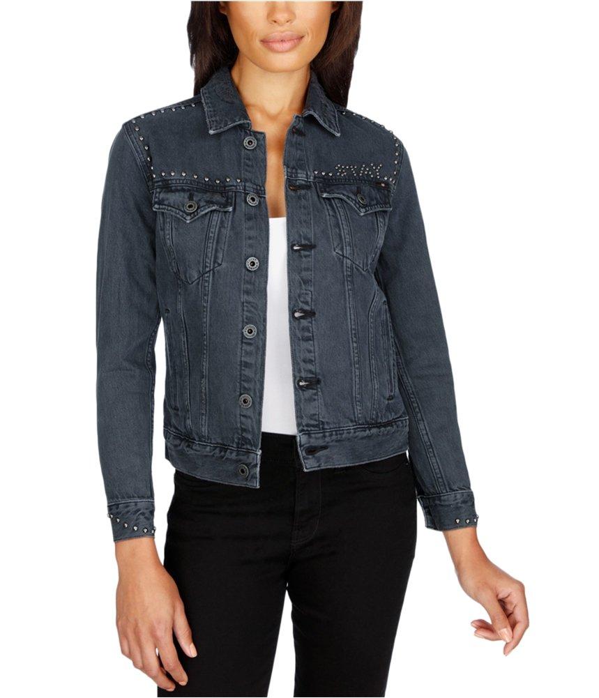 Lucky Brand Womens Studded Destroyed Denim Jacket Blue L
