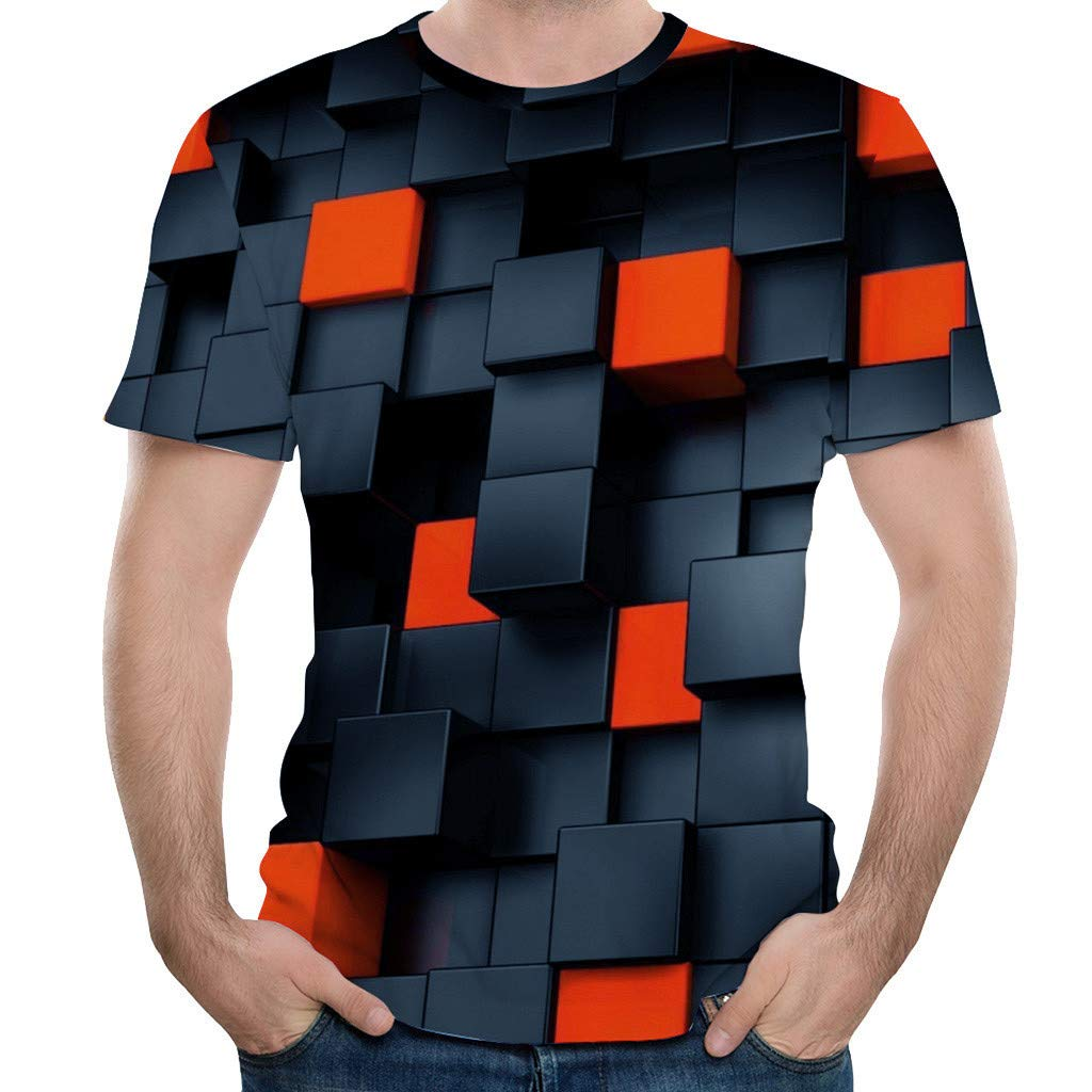Qinnyo Mens T Shirt for Men Splash-Ink 3D Printing Tees Shirt Short Sleeve T-Shirt Blouse Tops Couple Shirt Sweatshirt