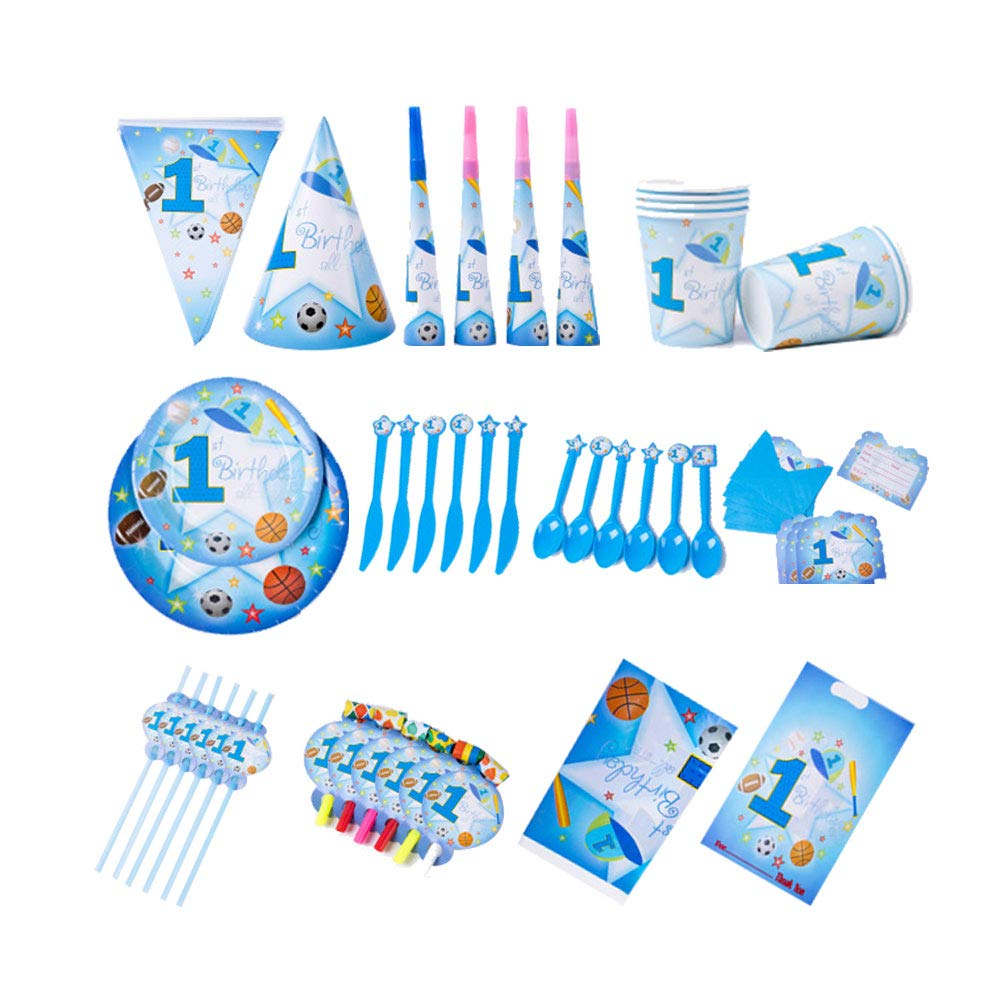 BASONG Sports Boy Party Supplies Set & Tableware Kit, 16 Sets Disposable Paper Party Decorations For Kids, Birthdays, Celebrations- Serves 6 by Basong