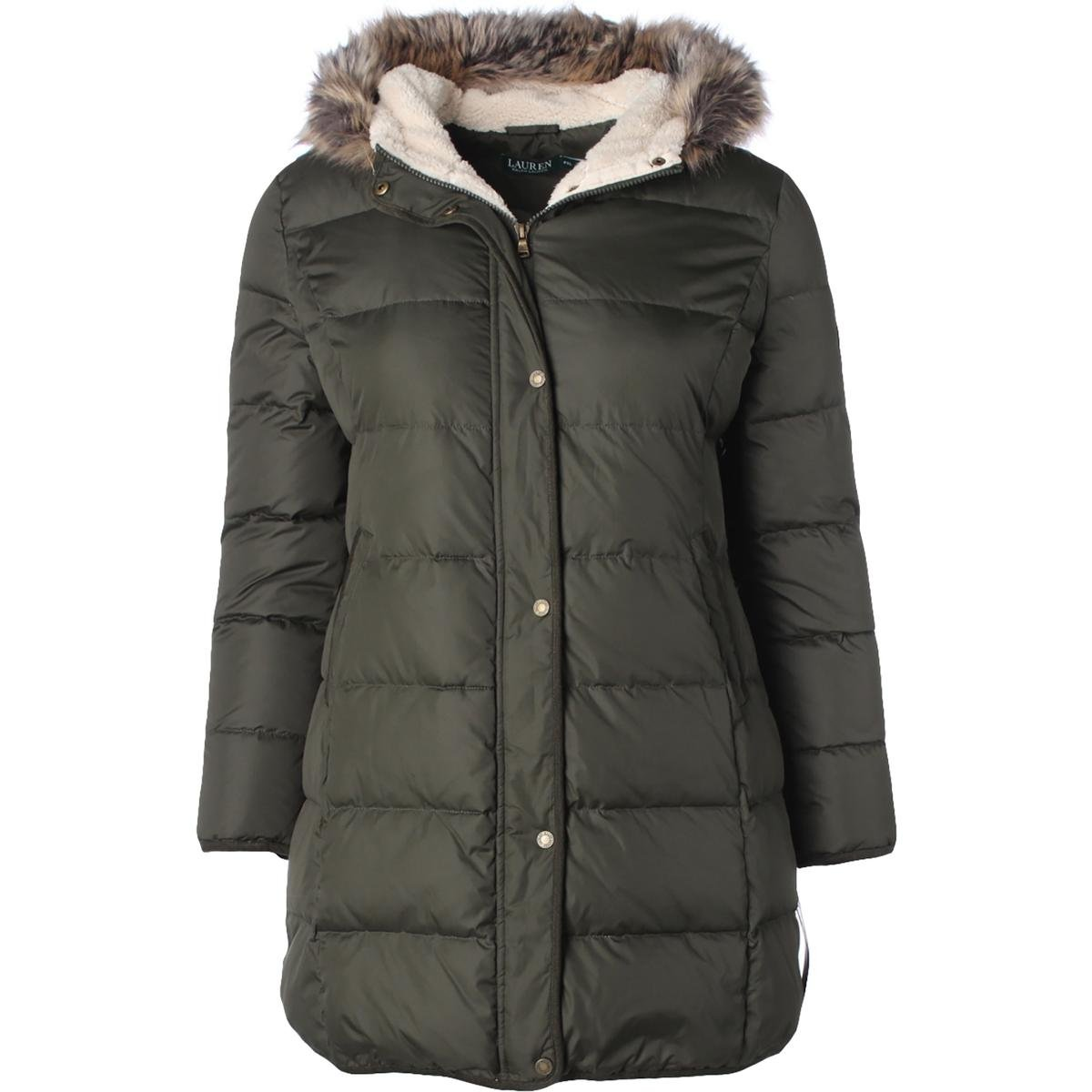 Lauren Ralph Lauren Womens Petites Faux Fur Hooded Puffer Coat Green PXL by Lauren by Ralph Lauren