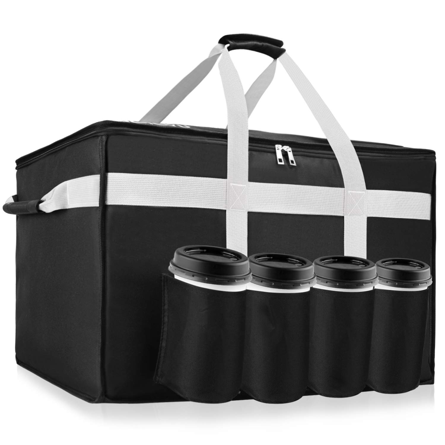 YUOIOYU Insulated Food Delivery Bag - Premium Waterproof Delivery Bag XXL with Cup Holders Grade for Hot Food Delivery/Drink Carriers, Suitable for UberEats/DoorDash/PostMates/Grubhub Food Delivery