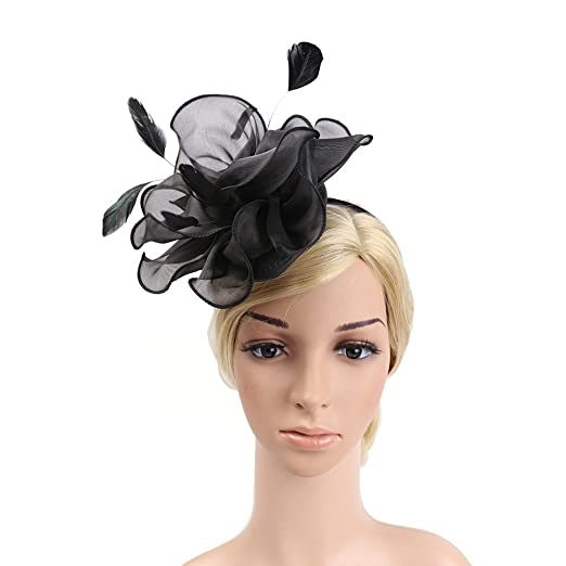 83134ef8fec YSJOY Womens Feather Silk Satin Flower Fascinator Church Kentucky Derby Hat  Wedding Cocktail Tea Party Hat