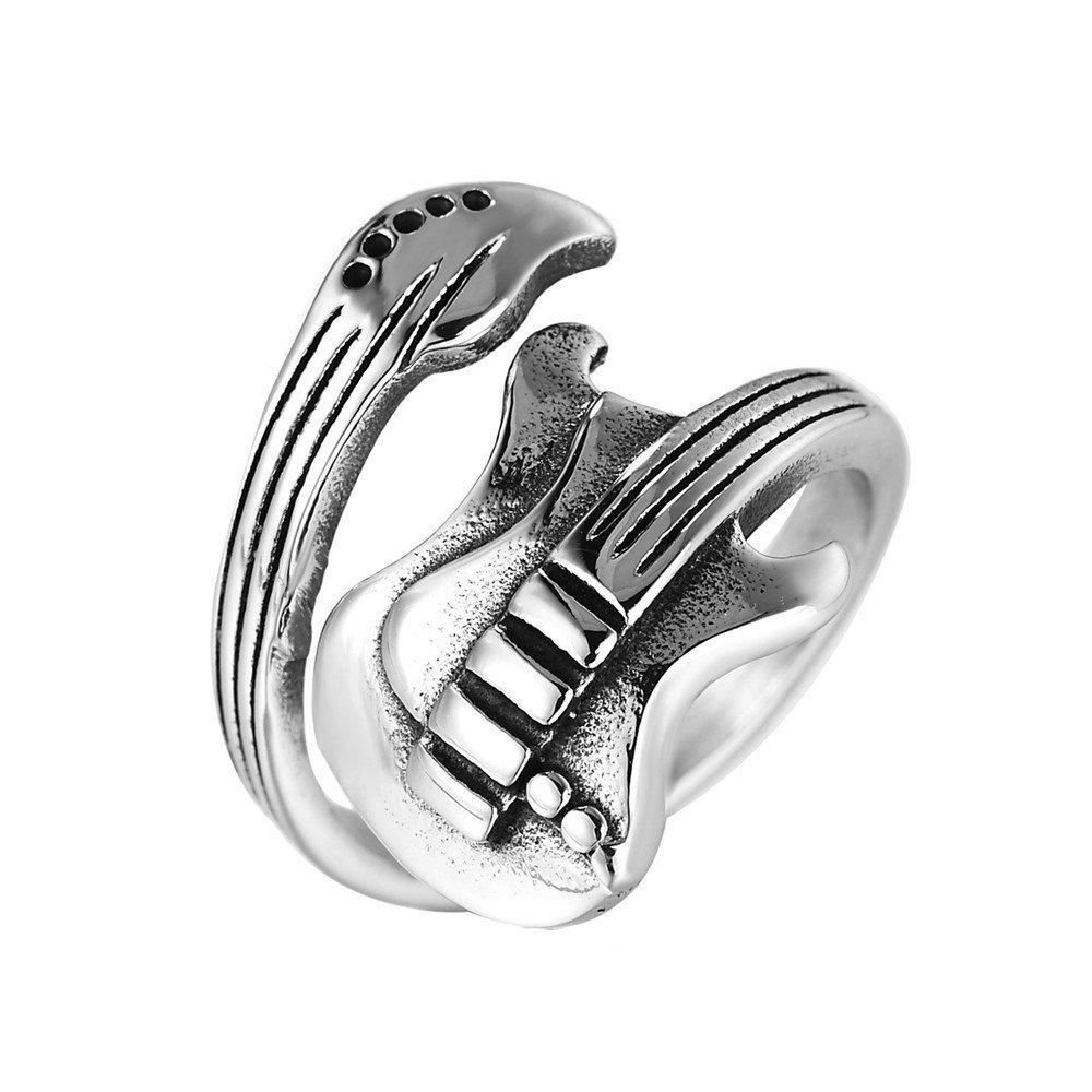Amazon Mens Jewelry Titanium Steel Open Rock Music Guitar Rings For Men Size 10: Guitar Wedding Rings For Men At Websimilar.org