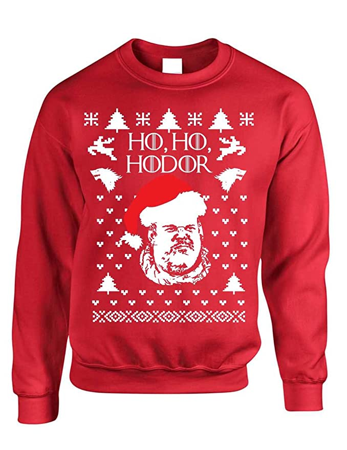 Allntrends Adult Crewneck Sweatshirt Ho Ho Hodor Ugly Christmas ...