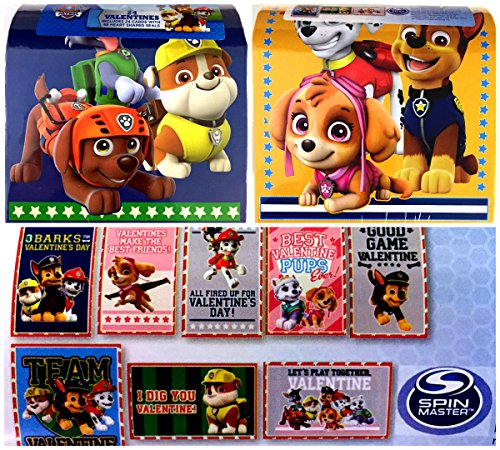 Paw Patrol 24 Valentines with 48 Heart Shaped Seals in Valentine Mailbox