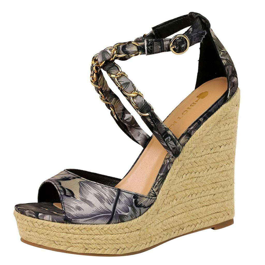 Kauneus Womens Stylish Strappy Criss Cross Open Toe Wedge Buckle Ankle Strap Waterproof Platform Sandals Multicolor Gray by Kauneus Fashion Shoes