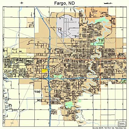 large street road map of fargo north dakota nd printed poster size wall