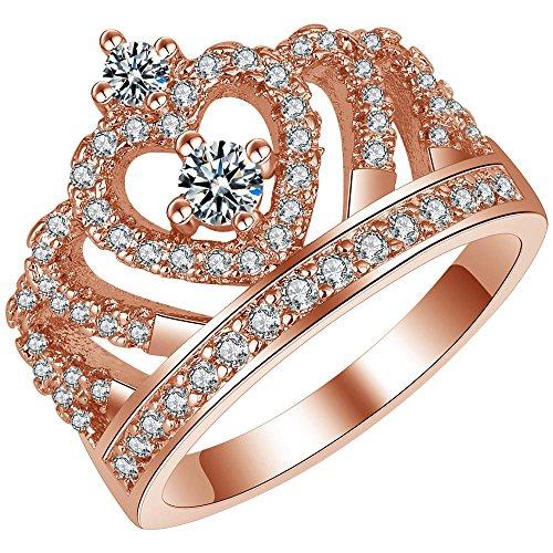 LWJYX Women's Rose Gold Wedding Engagement Round Crystal Ring for Bridal Princess Crown Tiara Anniversary Band Size 9