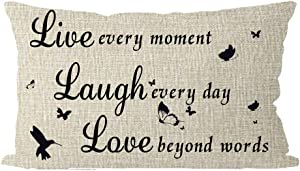 ITFRO Daughters Birthday Gift Live Every Moment Laugh Every Day Lumbar Burlap Throw Pillow Case Cushion Cover Couch Bedroom Decorative Rectangle Oblong 12x20 Inches