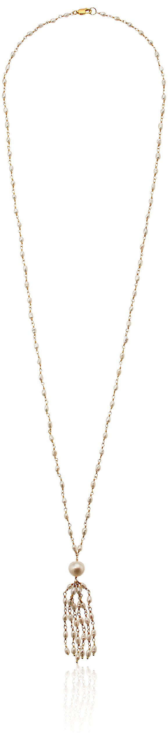 White Freshwater Cultured and Gold Over Silver Link and Pearl Strand, 30''