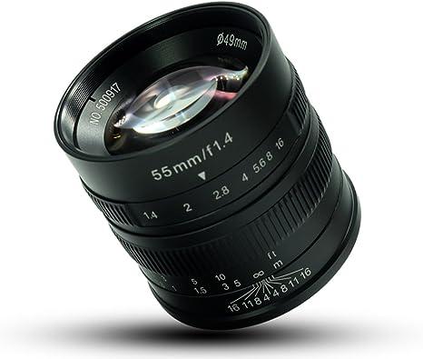 7 artesanos 55 mm F1.4 gran apertura Micro cámara de enfoque ...