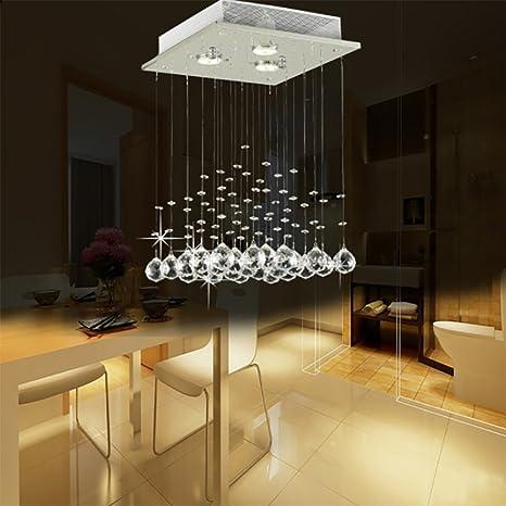 Glighone Lámpara Colgante Cristal 3*Halógena E14 50W Lámpara de Techo Luz Moderna Lámpara de Araña Iluminación Contemporáneo Elegante, No Incluye ...