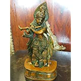 Decorative Hindu God Krishna Brass Statue Figurines Sculptures India