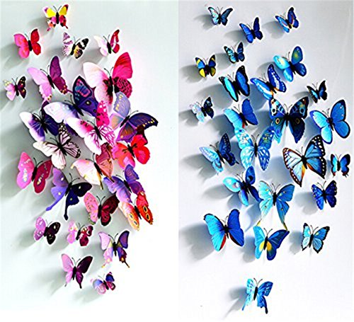 24pcs Purple&blue 3d Butterfly Stickers, Wall Stickers Crafts Butterflies, Wall Decoration, Fridge Magnet (Butterfly Wall Decorations)